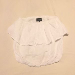 Michael Stars White Linen Ruffle Strapless Top- S